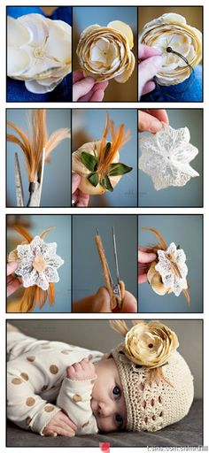 Cute flower DIY, don't think I'd put it on a baby hat though... :)