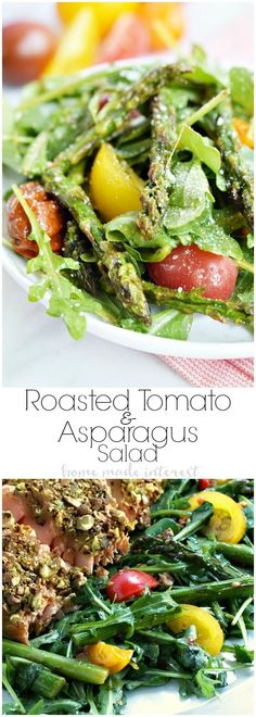 This simple salad recipe is filled with asparagus and tomatoes that have been roasted in olive oil and garlic, and it is topped with a balsamic vinaigrette. This warm salad recipe is the perfect side for a light dish like fish, or top it with a little cheese and eat it by itself as a healthy lunch! Low carb and gluten free!