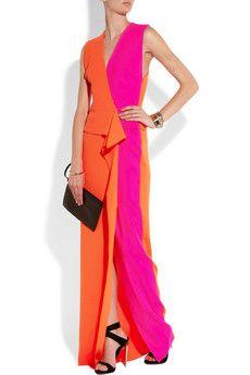 ROKSANDA ILINCIC Two-tone wool-crepe gown