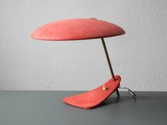 Mid-Century Italian Modernist Table Lamp with Red Shrink Varnish 1