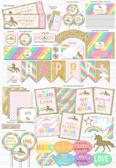 Printable Unicorn Glitter Birthday Party Package | Rainbow Party | Girl's Magical 1st Birthday | Pink and Gold Ticket Birthday Invitation | Unicorn Decorations | Banner | Cupcake Toppers | Food Labels | Photo Props | Favor Tag | Signs