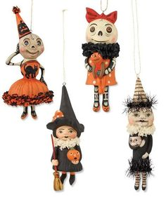 SET OF 6 VINTAGE HALLOWEEN CAKE CUPCAKE TOPPER PICKS ORNAMENT CAT WITCH MOON