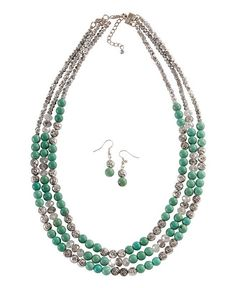 Multi Strand Rose Bead & Faux Turquoise Necklace & Earring Set