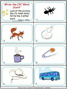 Are your kiddos working on CVC words? Here's a CVC Scoot game - 31 cards, take-a-break cards, answer sheet, and answer key. Print, snip, play!   $