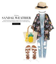"""Sandal Weather"" by cheekybonbons on Polyvore featuring Topshop, Assya London, Sensi Studio, Billabong, beach, Bohemian and kimono"