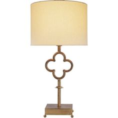 Visual Comfort Suzanne Kasler Quatrefoil Table Lamp in Gilded Iron with Linen Shade SK3500GI-L