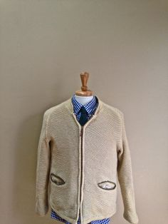 Sale Vintage Mens 1950s 1960s Ivory Campus Knit Zipper Sweater Rockabilly Fashion - M