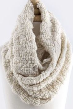 B76 Zig Zag Bubble Texture Ivory Off White Infinity Scarf Boutique