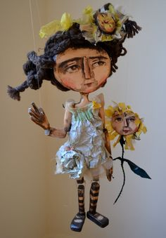 Girl with a Flower, one of a kind Wooden Marionette Doll. $150.00, via Etsy.