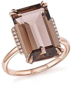 Bloomingdale's Smoky Quartz and Diamond Ring in Rose Gold - Exclusive Jewelry & Accessories - Bloomingdale's Rose Gold Jewelry, Sea Glass Jewelry, Diamond Jewelry, Fine Jewelry, Diamond Rings, Jewelry Rings, Halo Rings, Emerald Rings, Ruby Rings