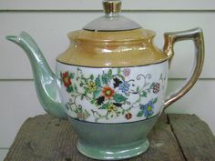 Vintage Japaneese Teapot  Luster Paint with by theSheepandI, $20.00