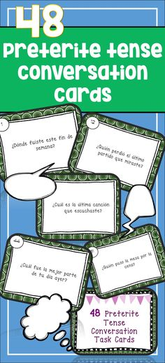 Preterite Tense Conversation Cards for Spanish. Get those kids talking and practicing grammar at once! Spanish II Spanish III Spanish IV Intermediate Spanish Advanced Spanish