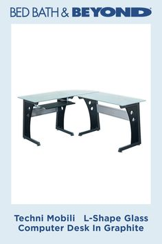 This elegant yet heavy-duty Techni Mobili L-Shape Glass Computer Desk features tempered safety glass measuring thick. The desk is also configurable so you can set it up to make you as productive as possible. Desk Setup, Safety Glass, L Shape, Chrome Finish, Cleaning Wipes, Computer Desks, Metal, Metals