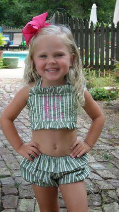 Seersucker Bathing Suit and a Bow = Adorbs Precious Children, Beautiful Children, Beautiful Babies, Cute Kids, Cute Babies, Baby Kids, Baby Baby, Future Daughter, Future Baby