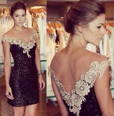 2016 new scoop neck Abendkleid Appliques evening dress vestido de festa Ballkleid Sequinv estidos de novia evening dress short$91