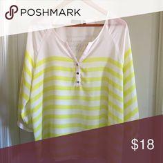 Apt 9 Striped Yellow & White Blouse XL Apt. 9 Tops Blouses