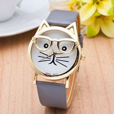Cat Watch With Glasses Fashion Women Quartz Watches Reloj Mujer 2016 Relogio Feminino Leather Strap New Hot montre women beauty and make up Fancy Watches, Trendy Watches, Cute Watches, Elegant Watches, Unique Watches, Lunette Style, Cat Watch, Accesorios Casual, Womens Glasses