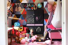 isabelle mcallister, DIY,  kids room, kids, swing, bow, harlequin, dosfamily.com, desk