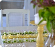 Drop cloth table runner. Wow!