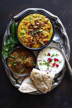 Indian Thali Meal Idea - Shahi Urad Dal, Lauki Kofta Curry, Pomegranate Raita via funfoodfrolic Urad Dal Recipes, Veg Recipes, Lunch Recipes, Indian Food Recipes, Vegetarian Recipes, Cooking Recipes, Cooking Tips, Good Food, Yummy Food