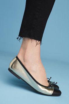 Metallic Cap-Toe Ballet Flats