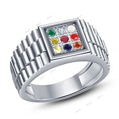 Navratna Gemstone Men's Ring 925 Sterling Silver Classic Look jewelry White Gold #Affoin8 #NavgrahNavratnaRing