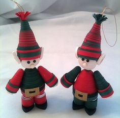 Paper Quilled Christmas Elf Ornament Set