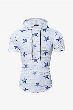 Men Star Print Hooded T-shirt