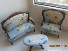 OOAK dollhouse furniture set artisan sofa armchairs Japanese style artisan