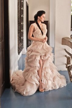 Those dramatic, layered ruffles are so divine, what a beautiful dress! #weddingdress #blushpink #blushpinkwedding #gown #bride #wedding