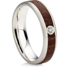 Brilliant Cut Diamond Wooden Inlayed Ring