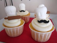 Pappa's Pizzeria Mustache Pizza Party cupcakes Pizza Party, Party Party, Mini Cakes, Cupcake Cakes, Cupcake Toppers, Bolo Fondant, Chef Cake, Themed Cupcakes, Party Cupcakes