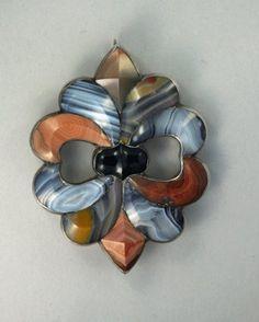 Rare Antique Scottish Agate Pin