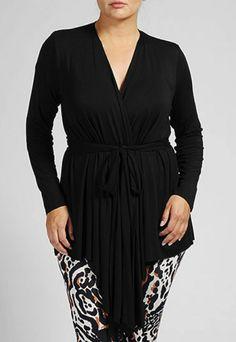 Rachel Pally Plus Size Black Tie Waist Top