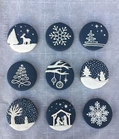 Christmas decorations made of polymer clay # Christmas decorations - Craft Clay Christmas Decorations, Polymer Clay Christmas, Christmas Ornament Crafts, Polymer Clay Crafts, Christmas Projects, Handmade Christmas, Christmas Cookies, Holiday Crafts, Ornaments Ideas
