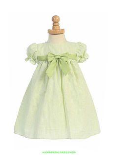 Green Striped Cotton Seersucker Cap Sleeved Infant Dress