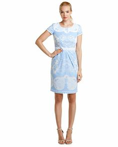 Sara Campbell Blue Lace Overlay Cap Sleeve Dress