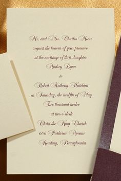A beautiful eggplant stardream wrap encases a simple ecru card. The gold foil embossed heart adds a touch of elegance! Heart Wedding Invitations, Eggplant Purple, Gold Foil, Raisin, Photo Cards, Holiday Cards, Marriage, Touch, Personalized Items