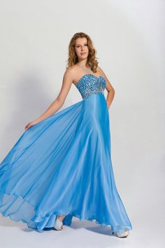 MZ0830 A Line Strapless Blue and Pink Chiffon Crystals Rhinestoned Prom Party Long Dresses  $125.99
