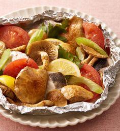 出汁野菜と白身魚のホイル焼き