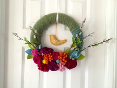Blackberry Rambles felted wool spring wreath