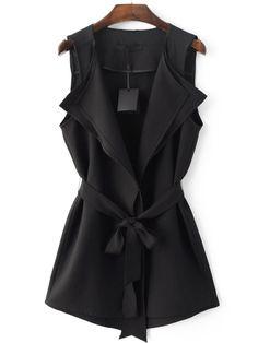 Shop Black Tie-Waist Bow Vest Outerwear online. SheIn offers Black Tie-Waist…