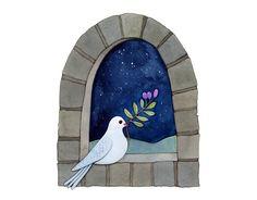 Like the dove against the dark watercolor sky.....White dove in peaceful night by Afsaneh Tajvidi