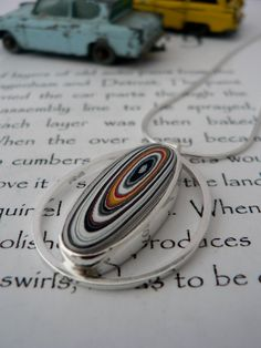 Contemporary Fordite Pendant  - agate made from layers of paint from old car painting factories! So cool!