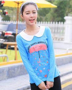 Cartoon umbrella long sleeve t shirt for girl blue peter pan collar shirt