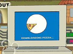 Descargando pizza