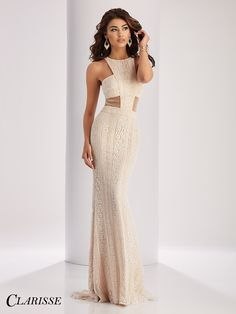 Clarisse Prom Dress 3122. Boho lace dress featuring sheer, mesh cutouts and a halter neckline. COLOR: Ivory/Nude SIZE: 00-16 Snag yours before it's gone by searching for your authorized Clarisse retailer below! http://clarisse.com/locator/index.php