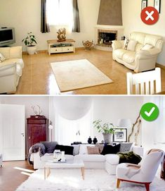 15 Living Room Design Mistakes - Lack of rugs or wrong size of rugs. Best Living Room Design, Interior Design Living Room, Living Room Designs, Living Room Furniture Arrangement, Living Room Decor, Creation Deco, Small Living Rooms, Cushions On Sofa, Decoration