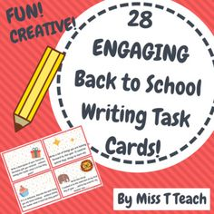 Don't use boring writing prompts this year... Use these creative and fun writing task cards!! The beginning of the year is stressful as you are trying to get to know your students as quickly as possible. Allow them to engage in writing from the get go - this will quickly give you authentic data in terms of students' writing capabilities.