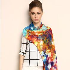 Colorful Cloud Scene 100% Silk Scarf